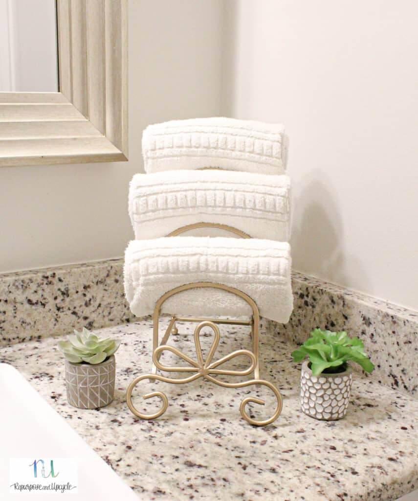 Repurposed Plate Rack Towel Holder Transformation