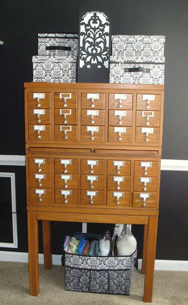 Card Catalog Storage Crafting Shelf