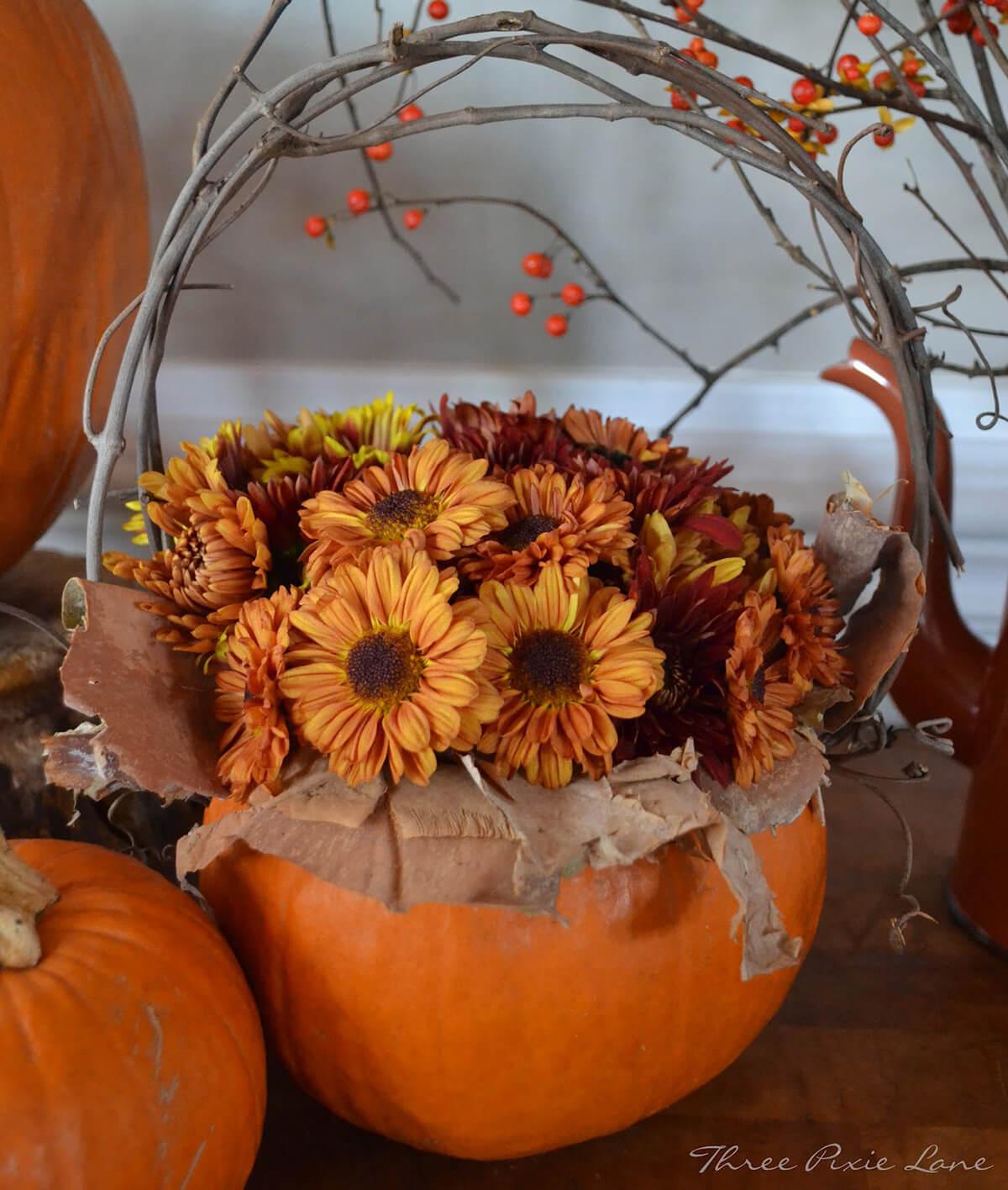 Pumpkin Basket Filled with Flowers
