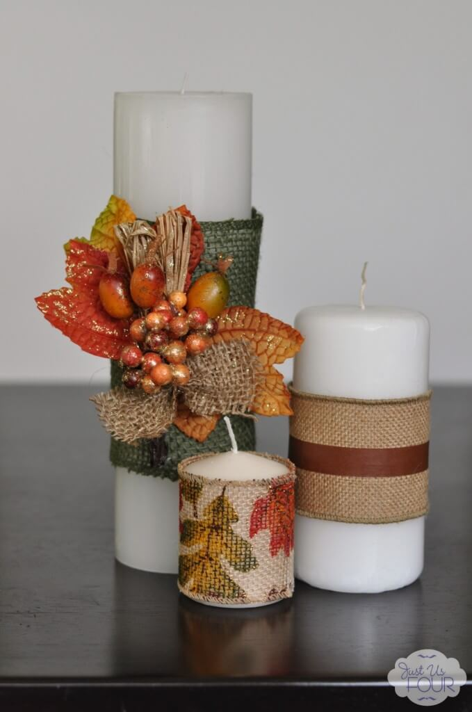 Pretty Burlap Wrapped Fall Candles
