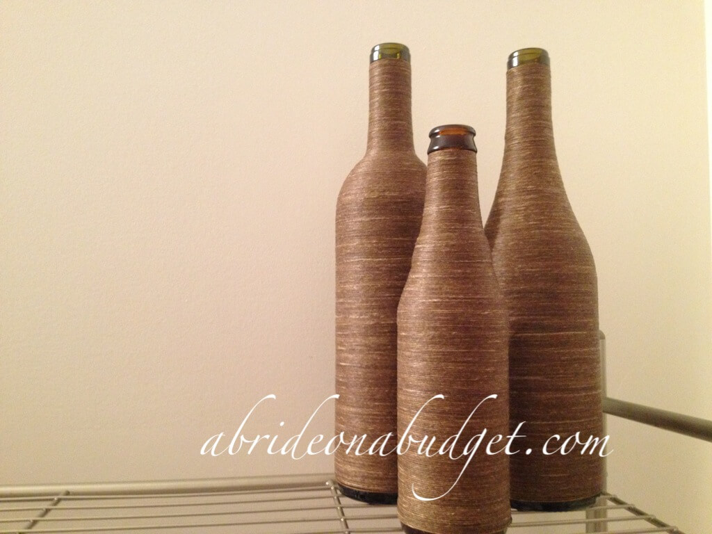 DIY Wrapped Wine Bottle Table Decorations