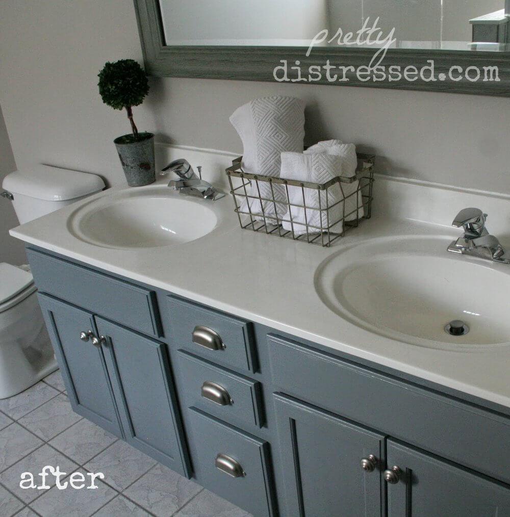 Gray Blue Budget-Friendly Bathroom Update