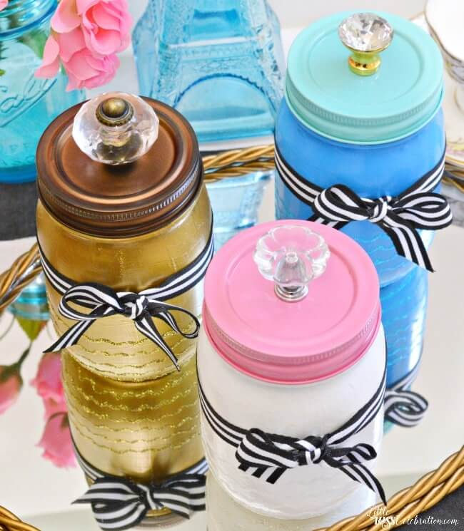 Mason Jar Makeover with Accented Lid