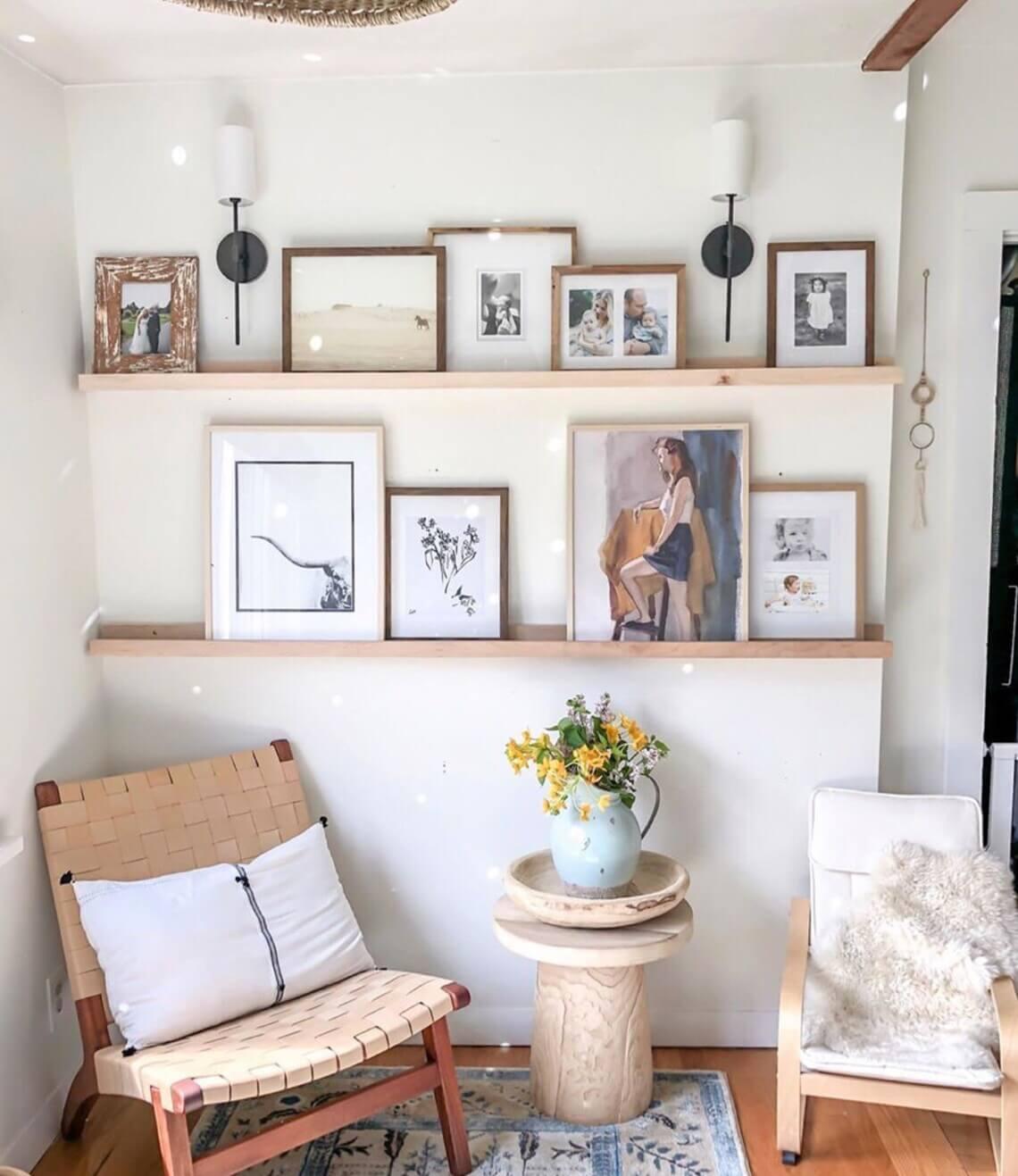 Natural Wood Floating Picture Ledge Shelf