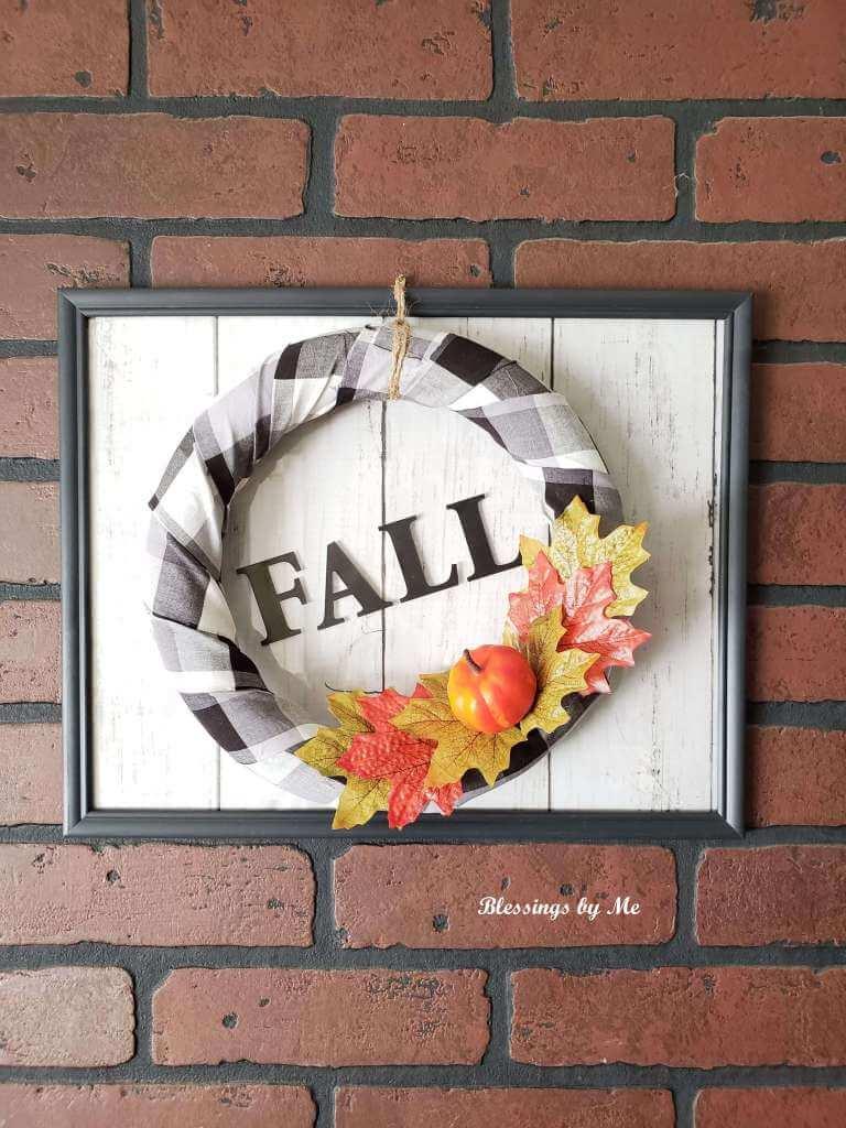 Black and White Buffalo Plaid Fall Wreath