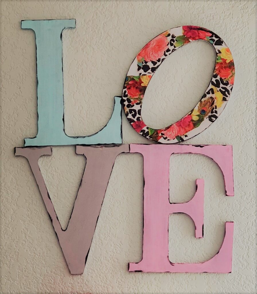 Decoupage and Painted Love Letters Wall Art