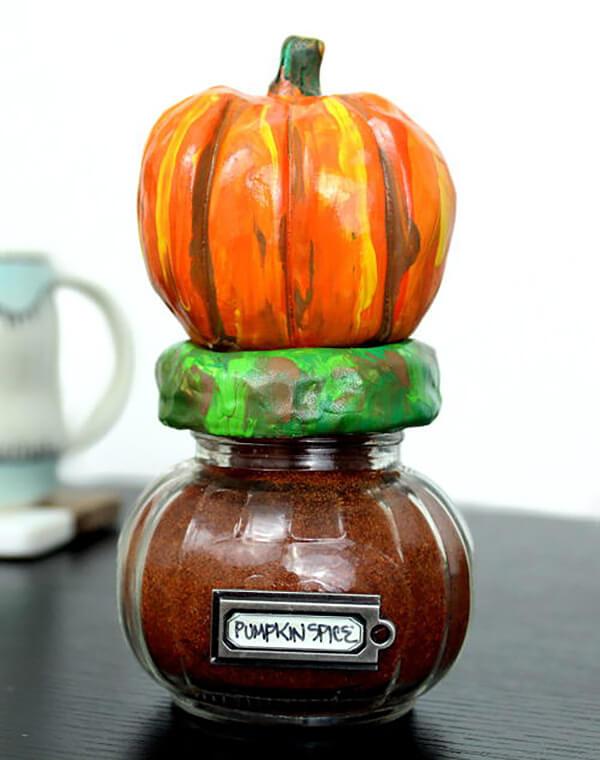 Pumpkin Jars with DIY Clay Pumpkin Toppers