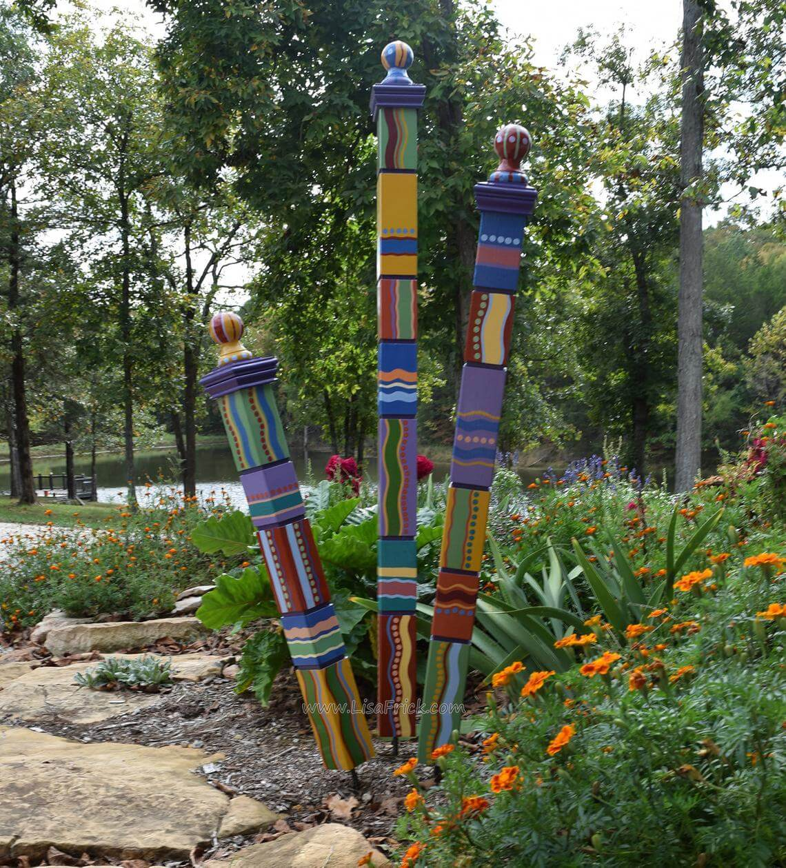 Bold and Bright Painted Post Garden Decorations