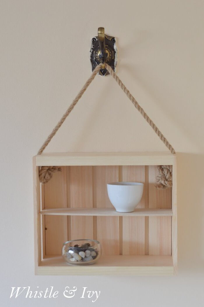 Hanging Rope and Crate Shelf