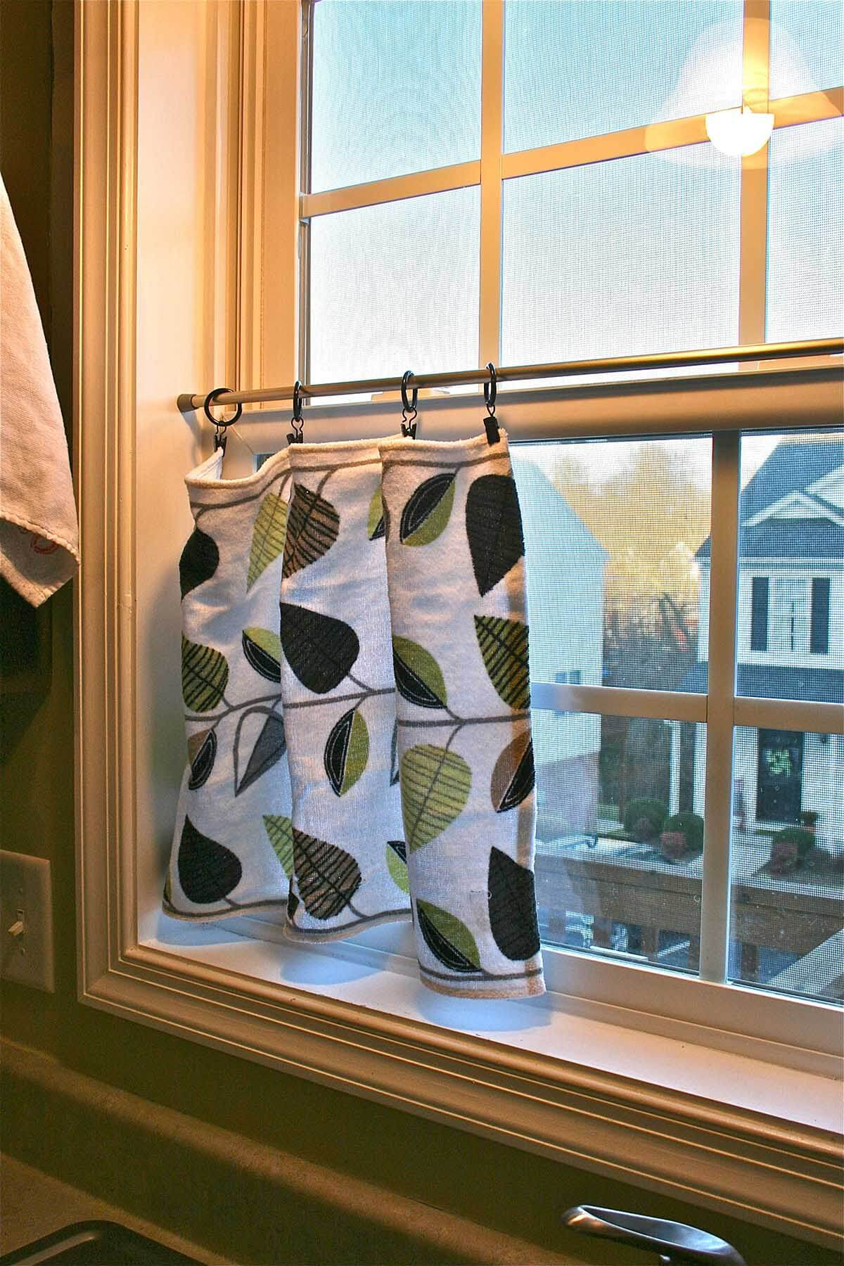 Cool Dish Towel Cafe Curtains
