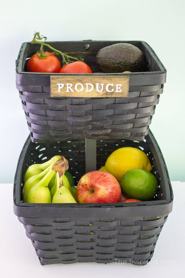 Painted Woven Produce Storage Baskets