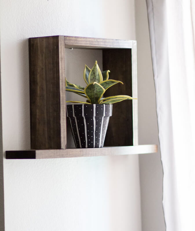 3D Floating Wooden Box Shelf