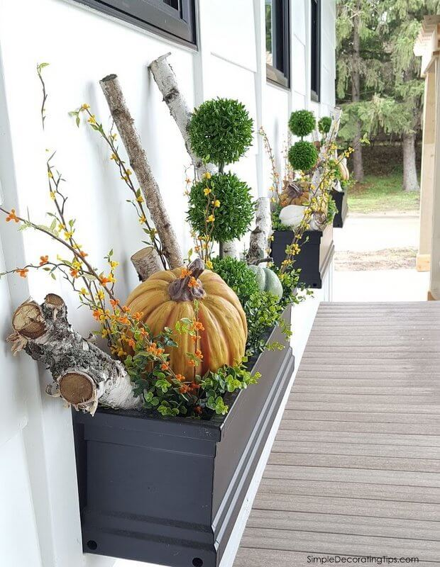 Fall Pumpkins and Branches Window Box Display