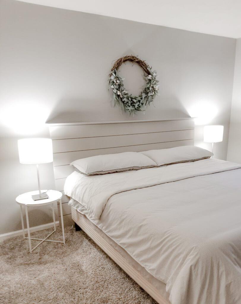 Short on Shiplap Master Bed Headboard