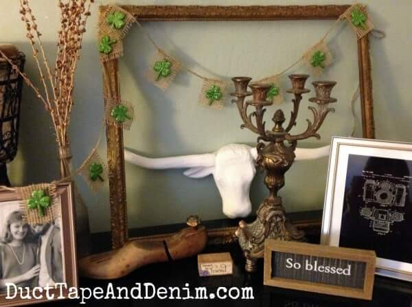 Lucky Clover Patched Burlap Garland