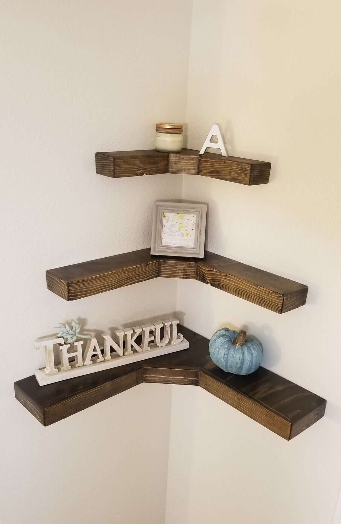 Corner Stained Wooden Floating Shelf System