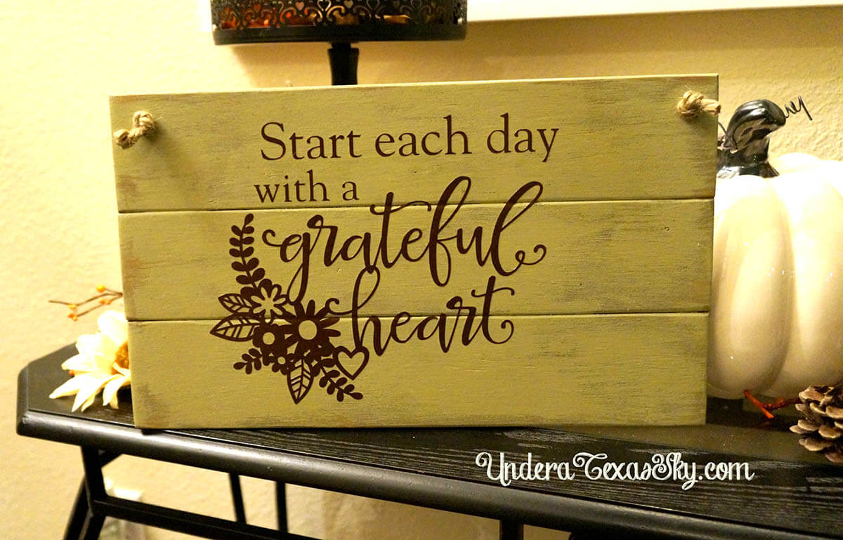 Grateful Heart Painted Wood Sign