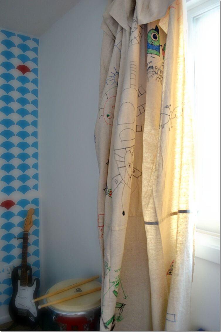 Kids No-Sew Drop Cloth Curtains