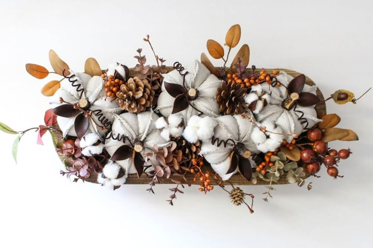 Easy Wooden Bowl Fall Table Centerpiece