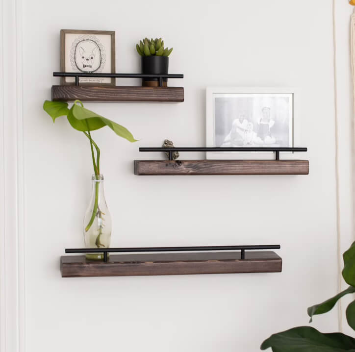 Industrial Black Metal and Wooden Floating Ledge