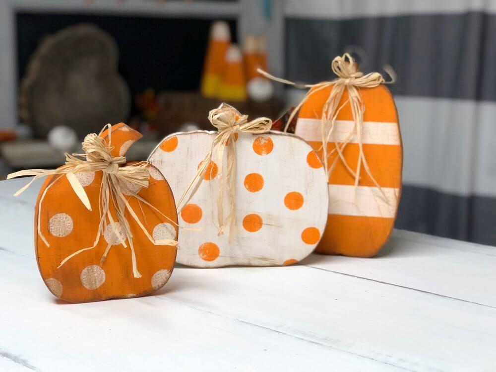 Hand-Painted DIY Wooden Cutout Pumpkins