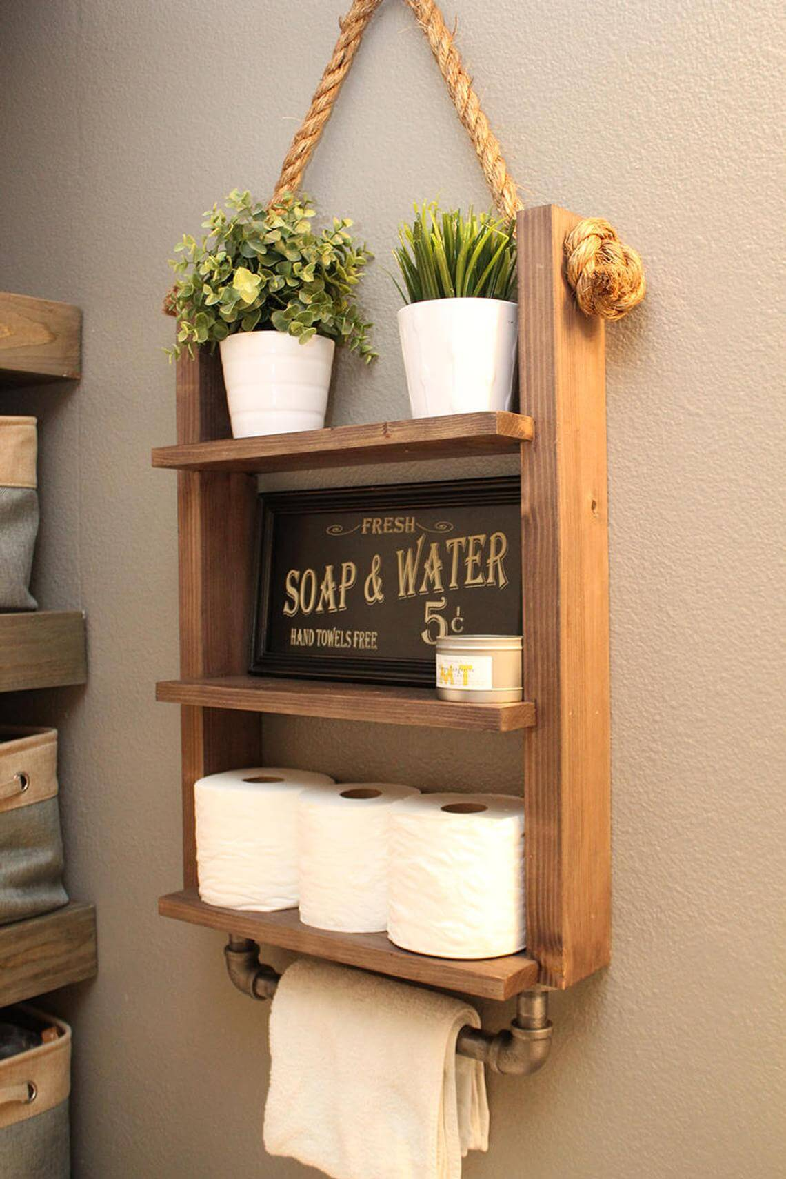 Simple and Industrial Large Wooden Wall Shelf