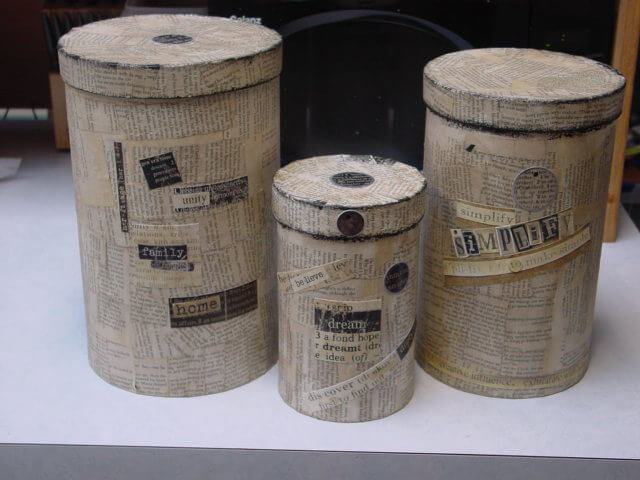 Paper Mache Book Page Canister Covers