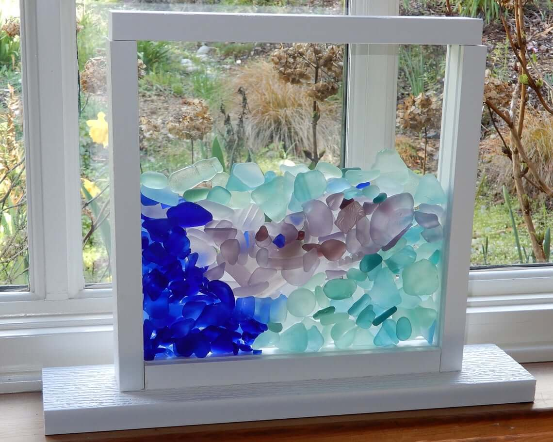 Sea Glass Upright Window Display