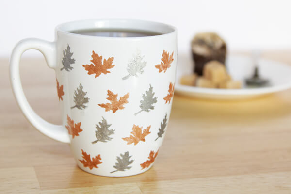Coffee Mug with Colorful Stenciled Leaves
