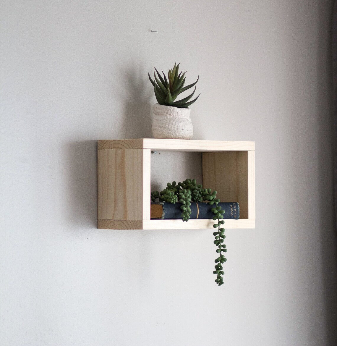 Squared and Simple Natural Wood Floating Box