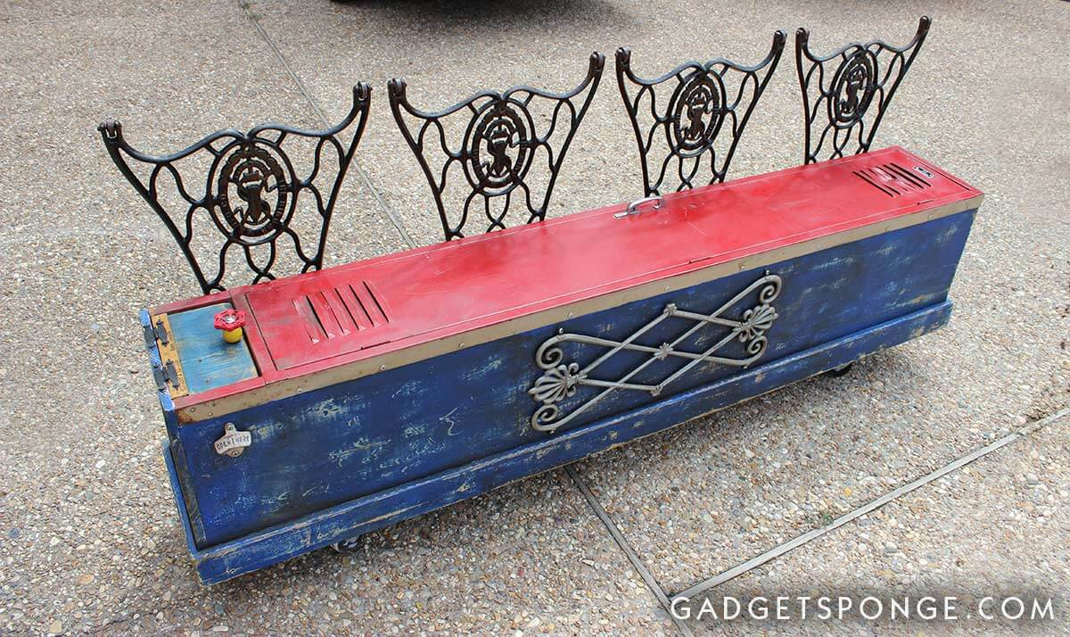 Upcycled Old-School Red Locker Bench