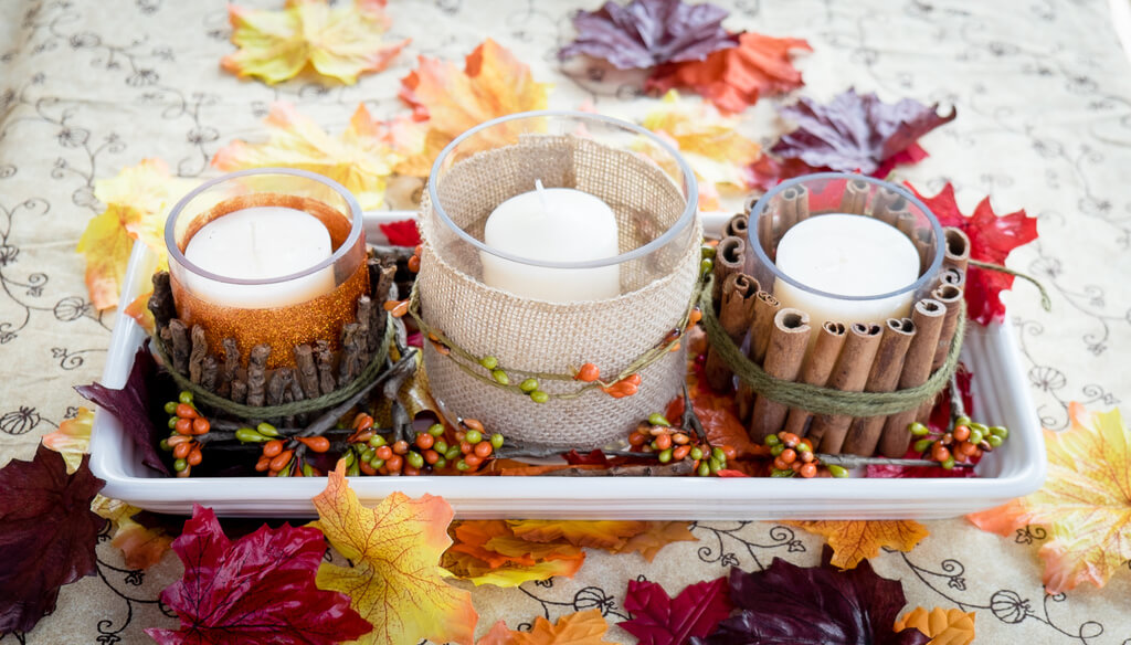 Cinnamon, Sticks, and Burlap Wrapped Votive Candles