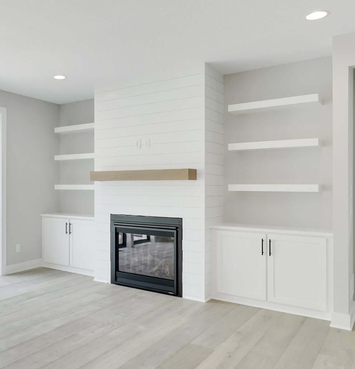 Clean White Modern Built-In Floating Shelves