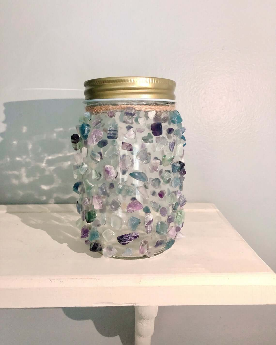 Encrusted Sea Glass Mason Jar Light