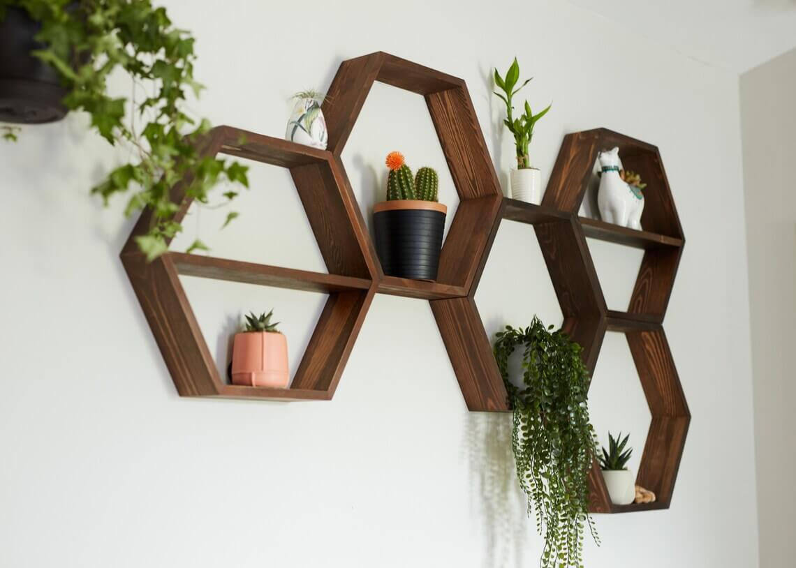 Geometrical Wooden Floating Hexagon Shelf System