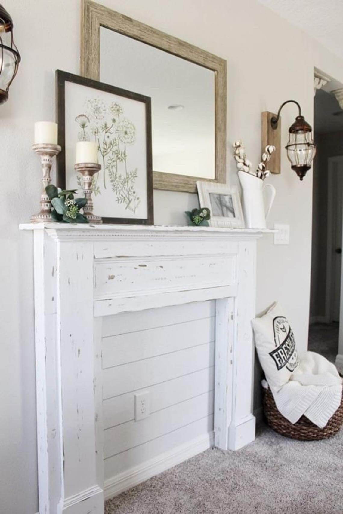 Decorative and Dreamy White Hearth with Shiplap