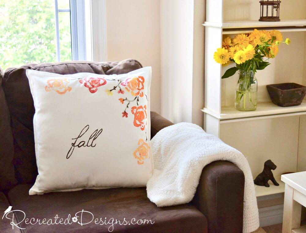 Fall Celery Stencil Flower Pillows