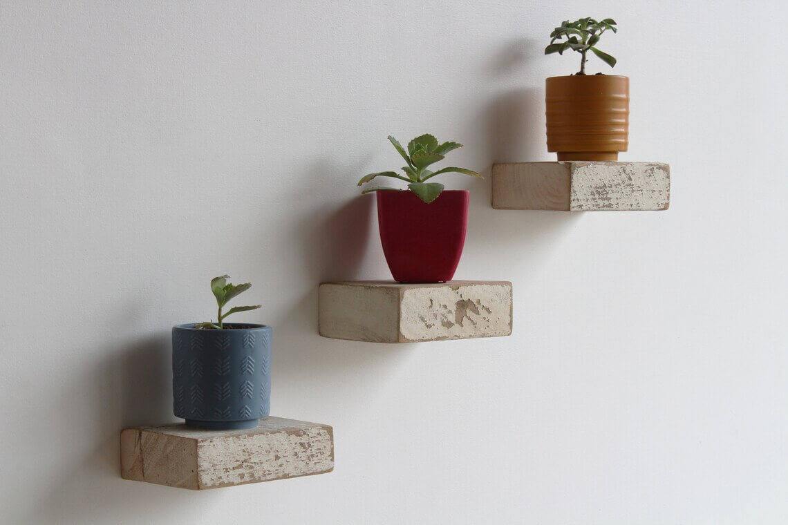 Small Square Distressed White Wooden Floating Shelves