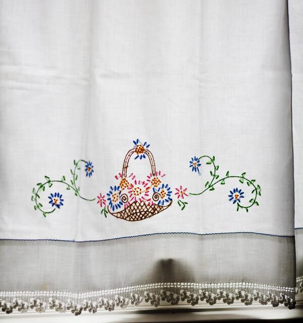 Vintage Pillowcase as Cafe Curtain
