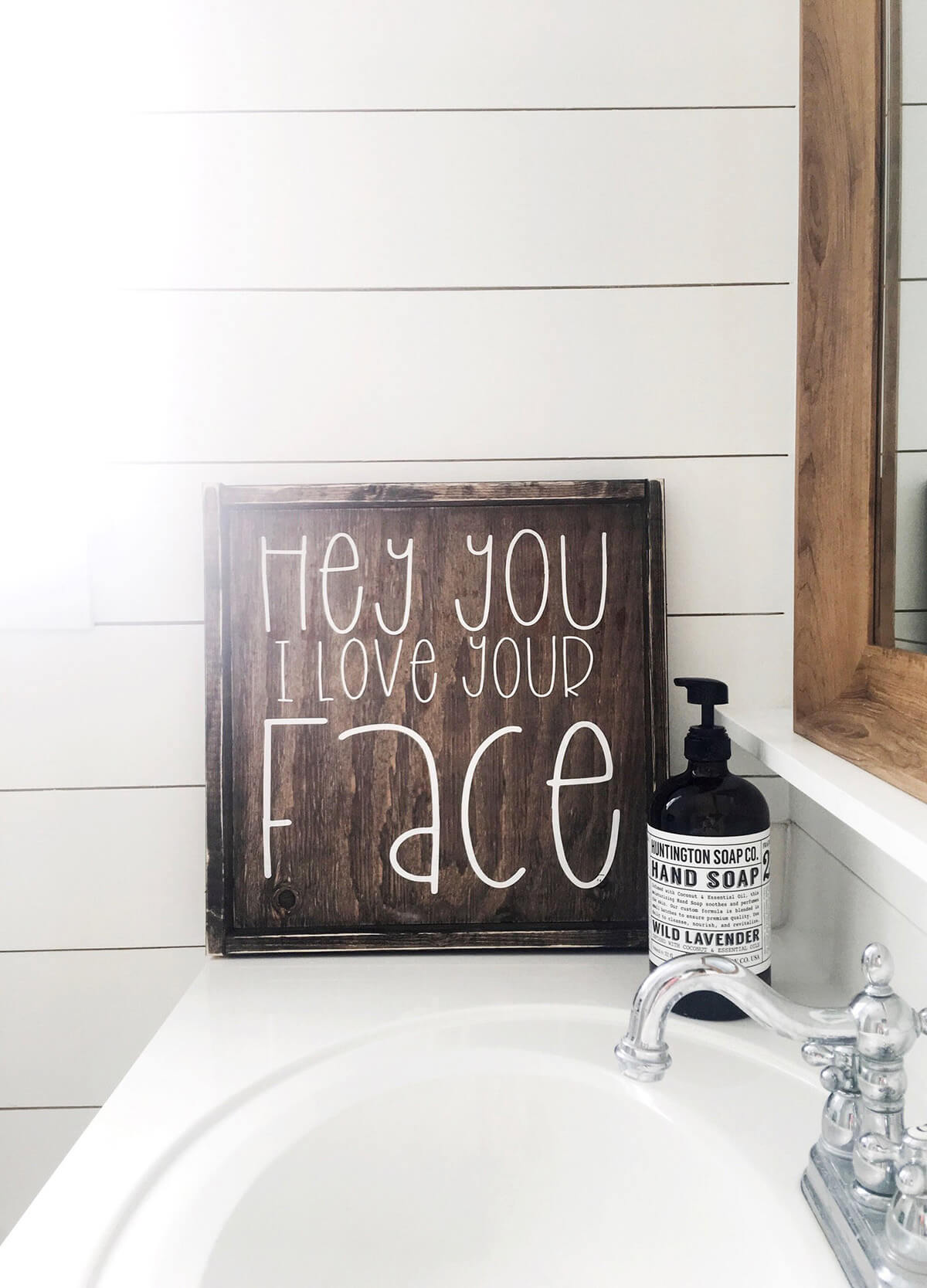 I Love Your Face Rustic Bathroom Sign