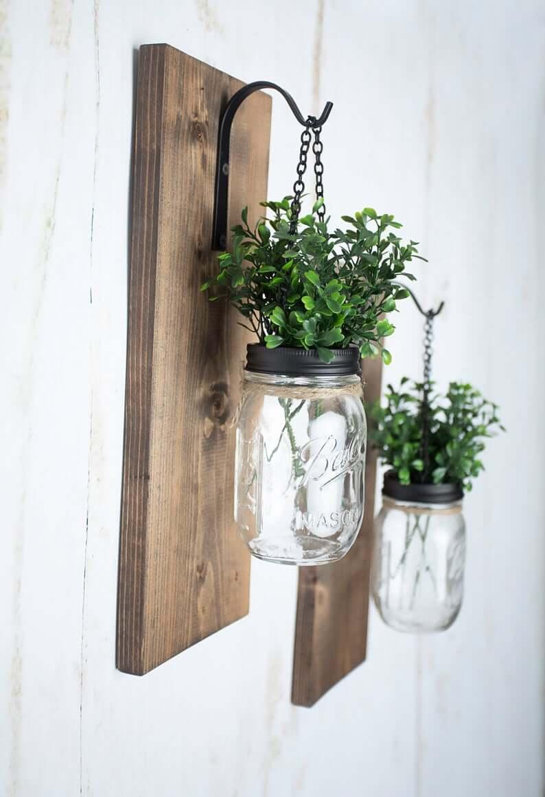 Wooden Base Metal Hanger for Mason Jar
