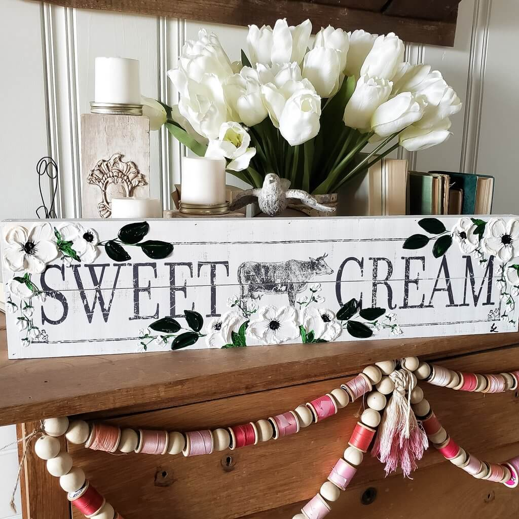 Shabby Chic Farmhouse Sign with Cow