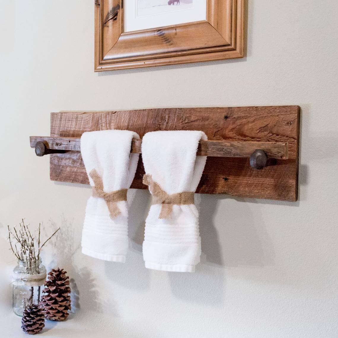 Rustic Wooden Towel Rack