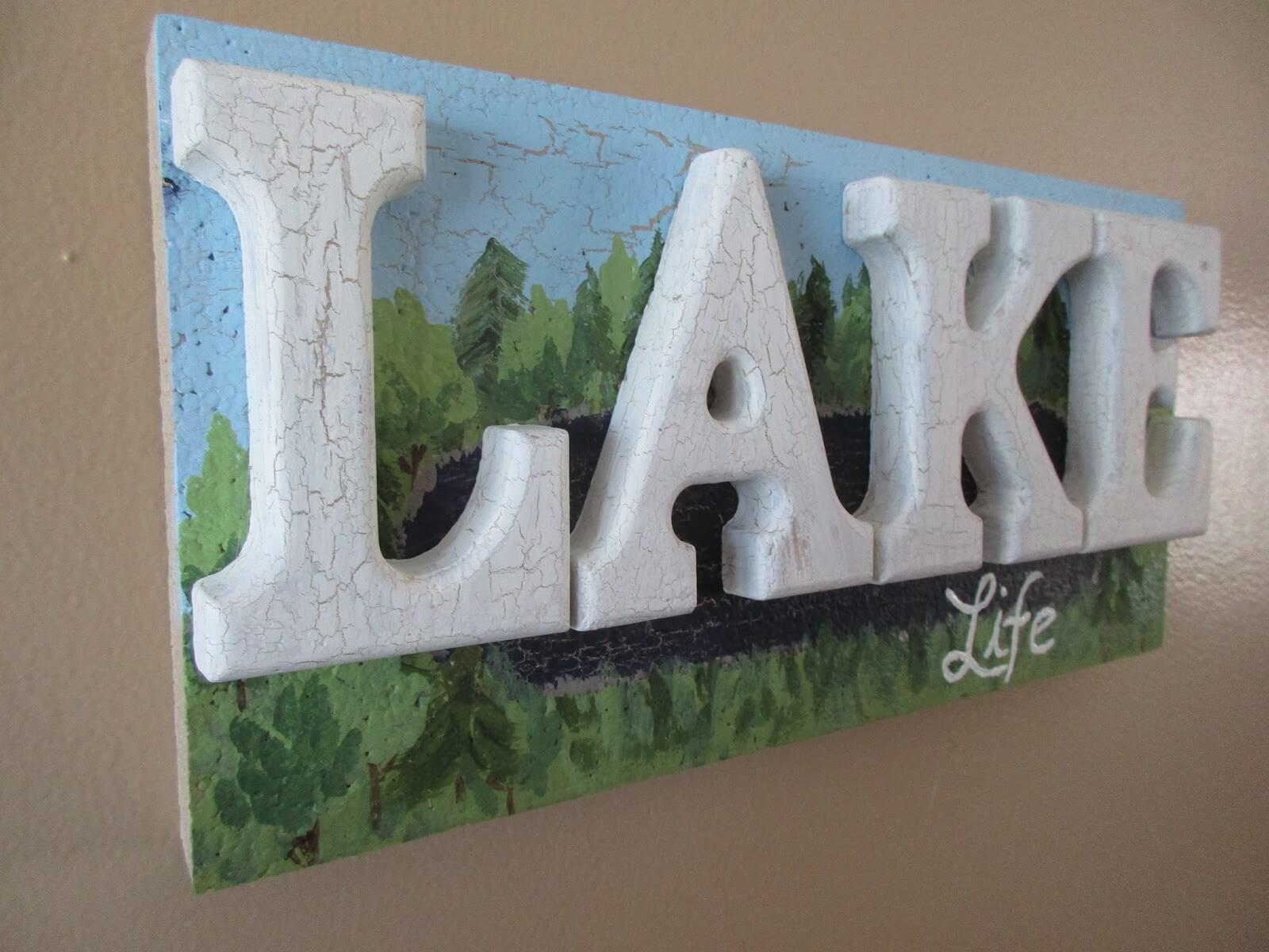 Three Dimensional Lake Life Sign