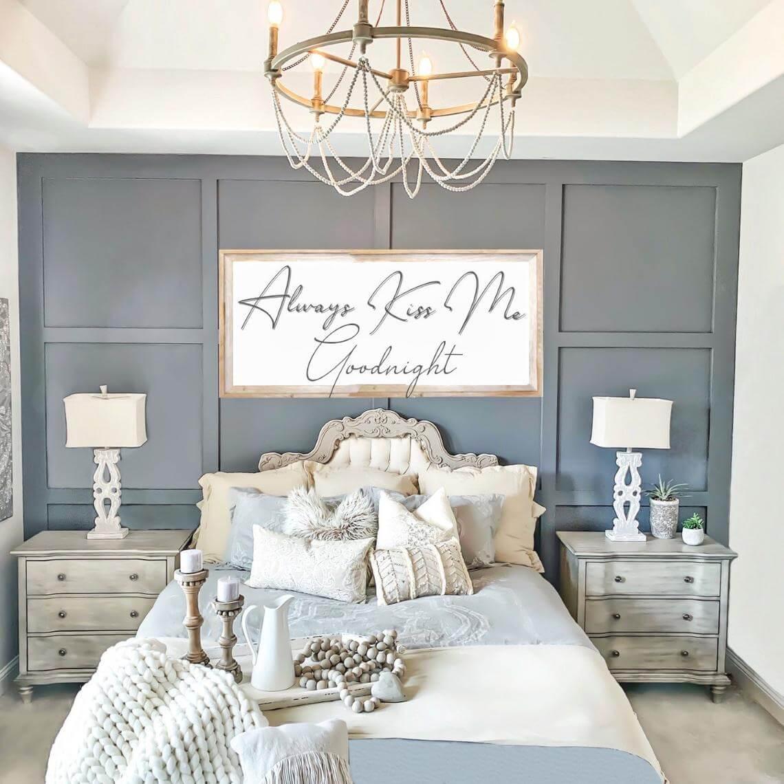 Always Kiss Me Goodnight Charming Modern Bedroom