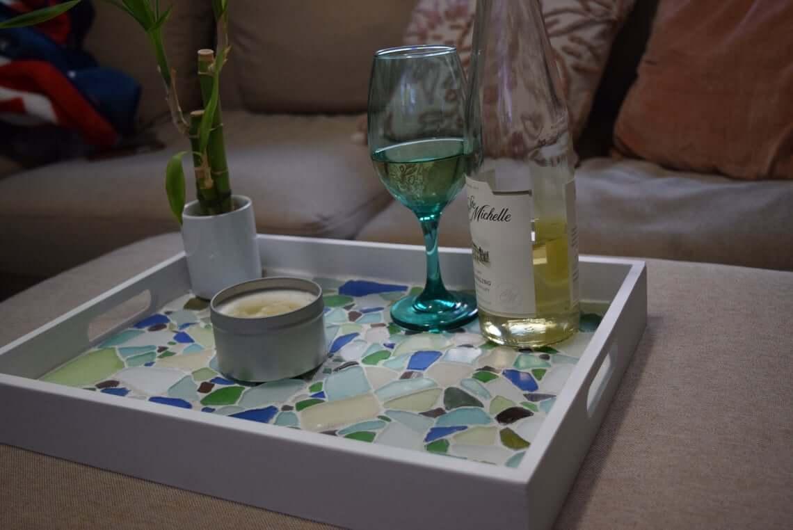 Multicolored Mosaic Sea Glass Tray