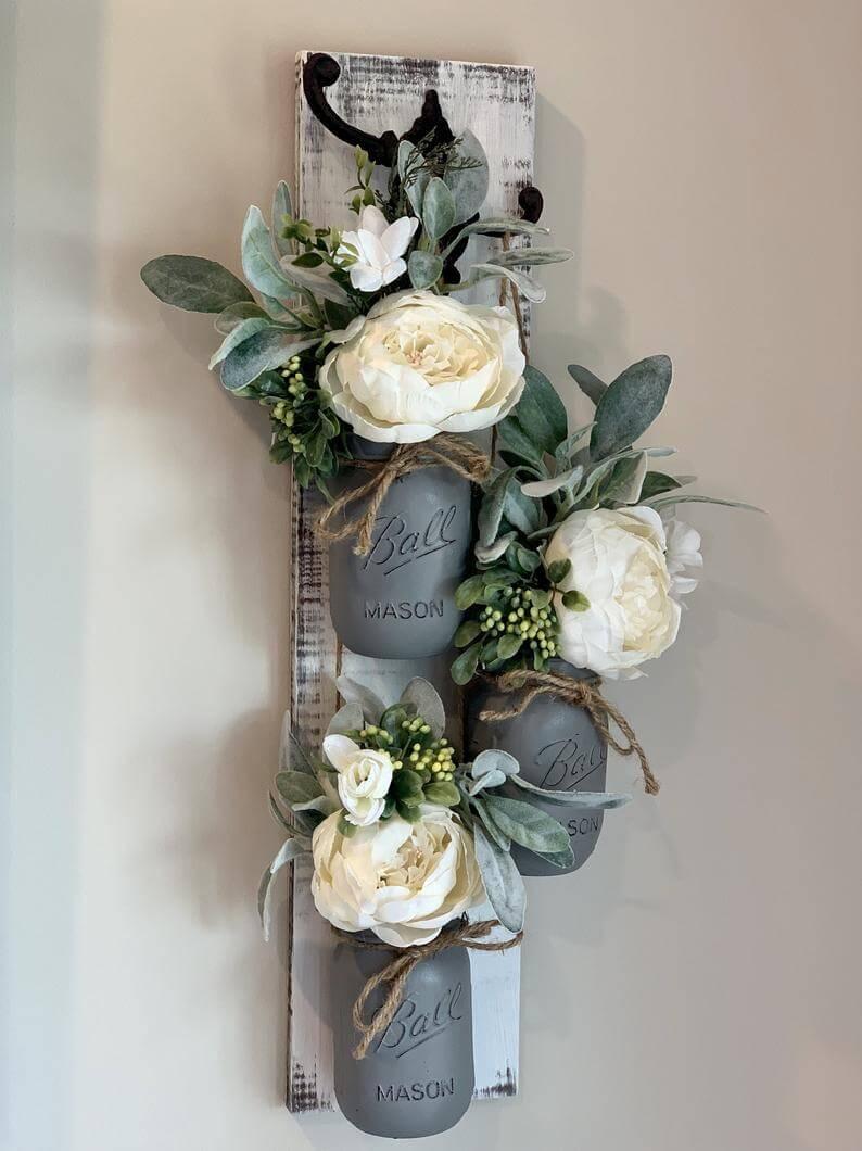 Trio of Decorative Mason Jar Wall Vases