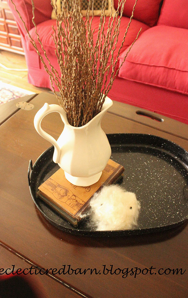 Coffee Table Tray with Pitcher Vase
