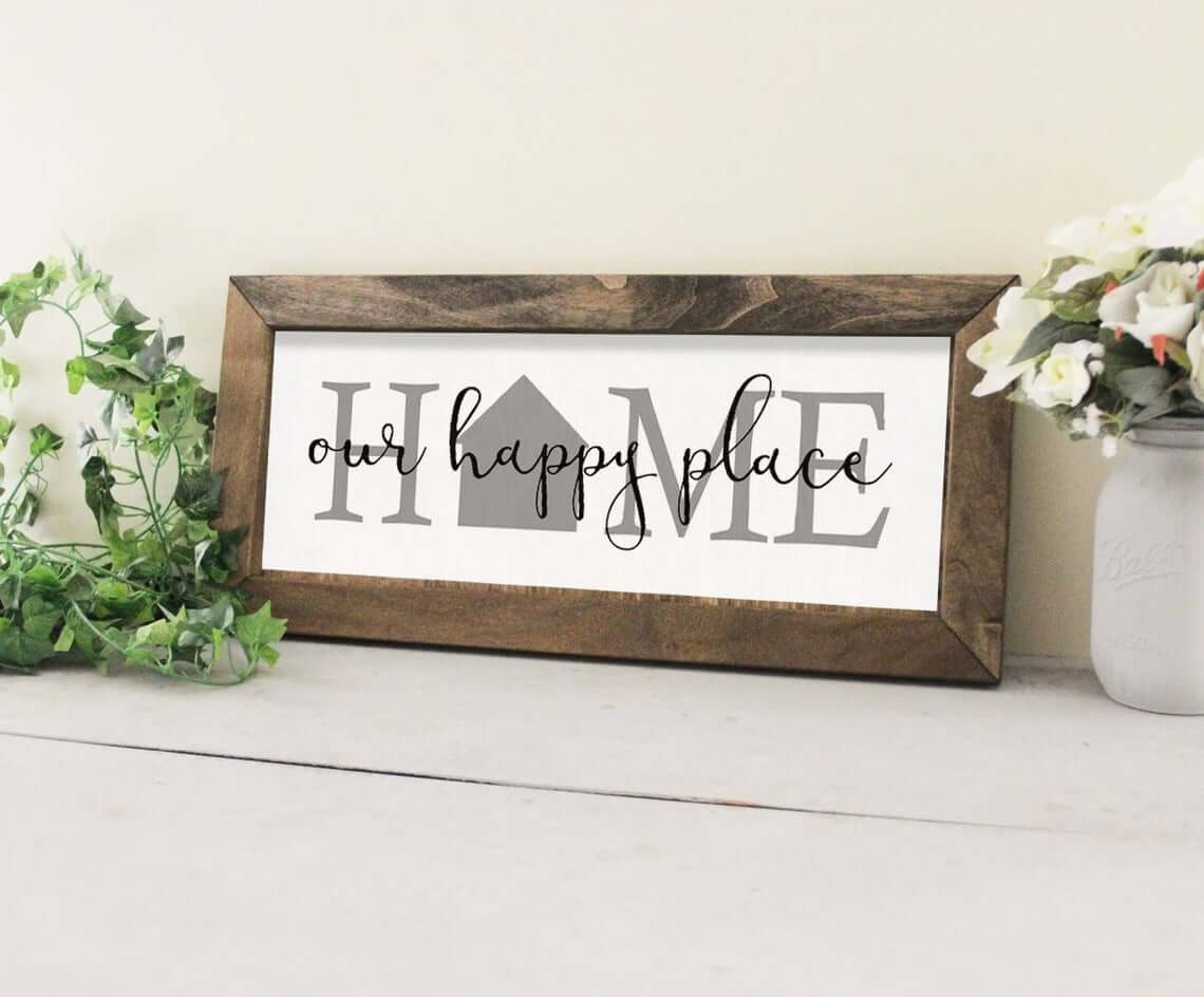 Welcome Sign with Rustic Wooden Frame
