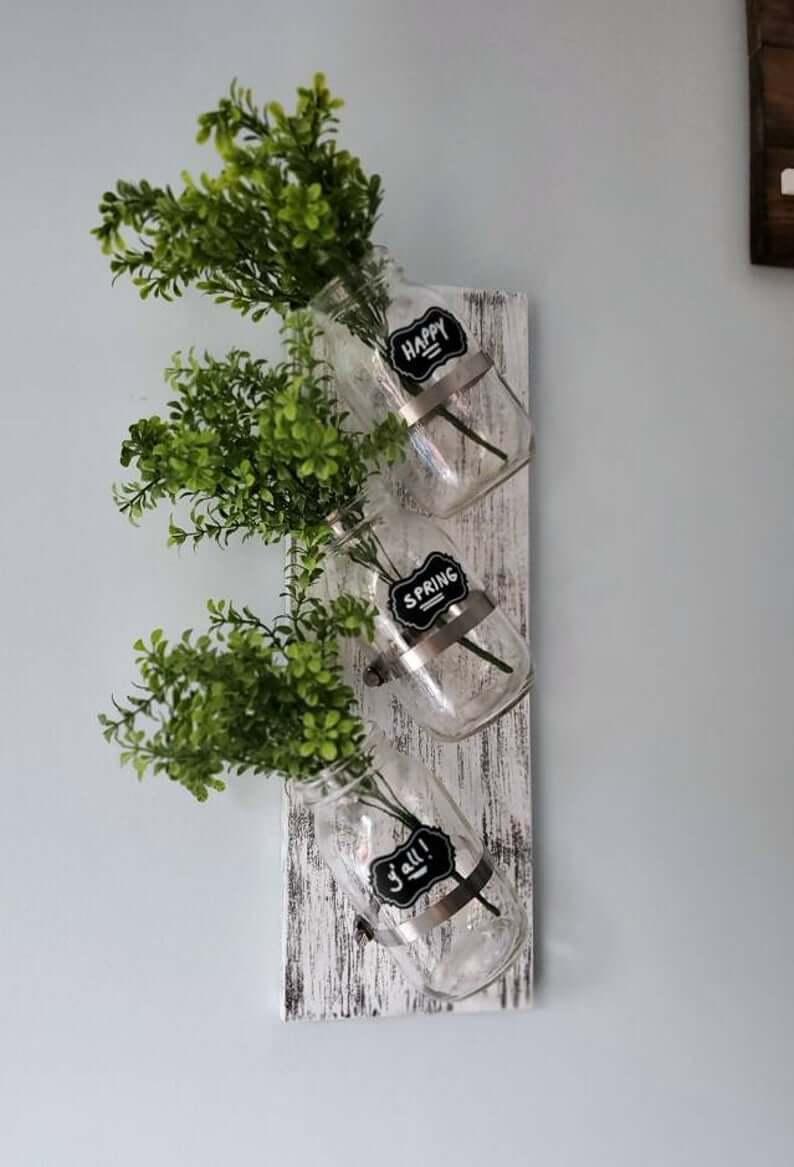 Slanted Mason Jar Trio Wall Art